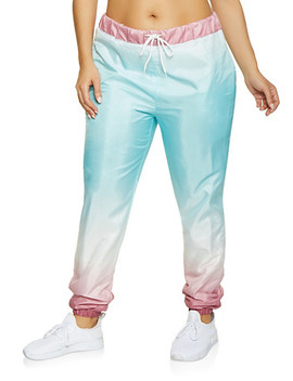 Plus Size Ombre Windbreaker Joggers | Turquoise by Rainbow