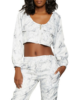 Marble Print Cropped Windbreaker Jacket by Rainbow