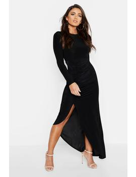 Ruched Long Sleeve Maxi Dress by Boohoo