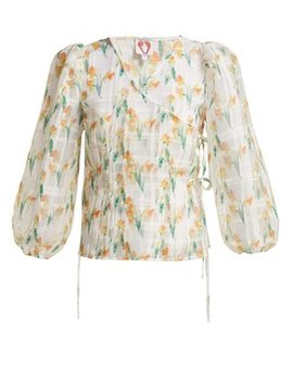 Daffodil Print Organza Wrap Top by Shrimps