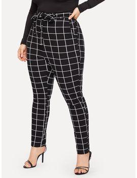 Plus Slant Pocket Belted Grid Skinny Pants by Romwe