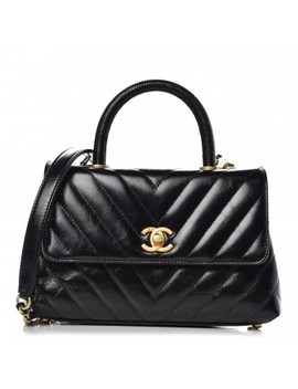 Chanel Calfskin Lizard Chevron Quilted Mini Coco Handle Flap Black by Chanel
