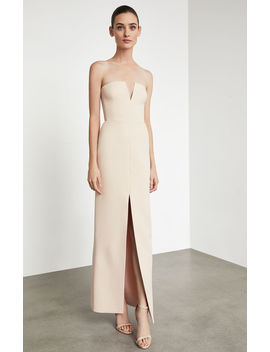 Notched V Strapless Gown by Bcbgmaxazria