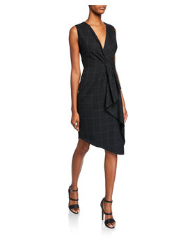 Adrianne V Neck Sleeveless Asymmetric Grid Dress W/ Flounce Detail by Elie Tahari