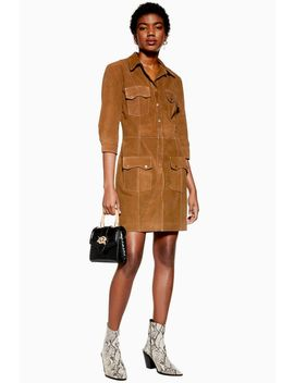 Tan Suede Shirt Dress by Topshop