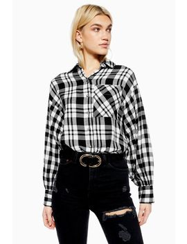 Monochrome Checked Oversized Shirt by Topshop