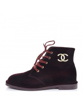 Chanel Velvet Cc Lace Up Boots 38.5 Burgundy by Chanel