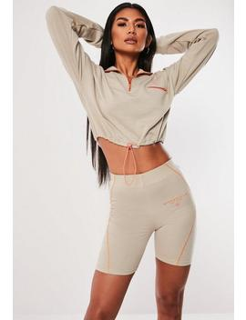 Stone Contrast Stitch Slogan Cycling Shorts by Missguided