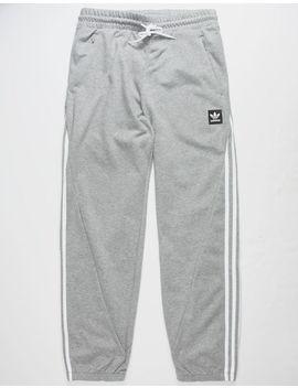 Adidas Insley Medium Gray Heather & White Mens Sweatpants by Adidas
