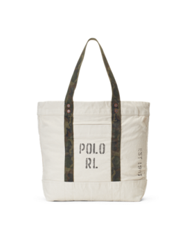 Faded Text Canvas Tote Bag by Ralph Lauren