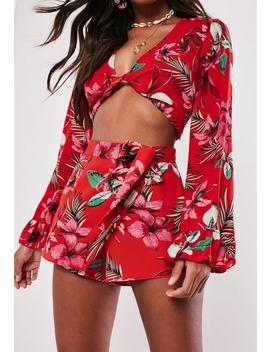 Red Tropical Wrap Over Skort by Missguided