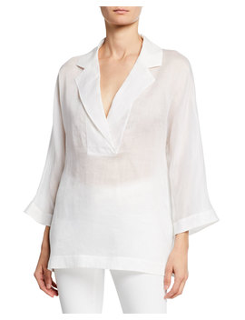 Jane Notched Collar 3/4 Sleeve Gemma Cloth Blouse by Lafayette 148 New York