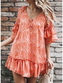 Orange Stripe V Neck Frill Trim Ruffle Sleeve Women Mini Dress by Choies