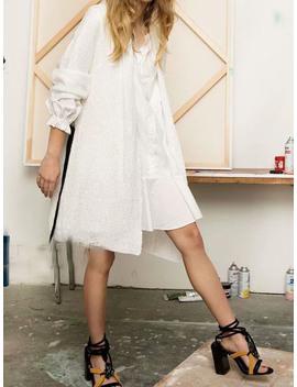 White Button Placket Front Ruffle Trim Puff Sleeve Women Mini Dress by Choies