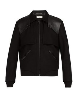 Tiered Leather Trimmed Wool Bomber Jacket by Saint Laurent