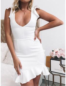 White V Neck Lace Up Back Ruffle Trim Sleeveless Mini Dress by Choies