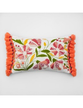 Embroidered Floral Lumbar Throw Pillow   Opalhouse™ by Shop Collections