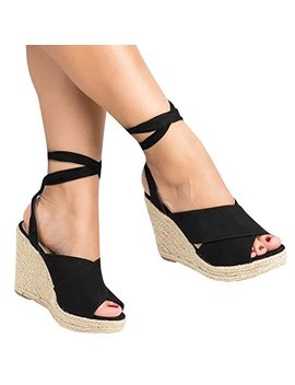 Ermonn Womens Lace Up Wedge Sandals Espadrille Peep Toe Tie Up Strappy Mid Heel Braided Sandals by Ermonn
