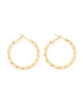 Followmoon 18 K Gold Plated Women's Rope Twist Hoop Earrings 20mm 50mm by Followmoon
