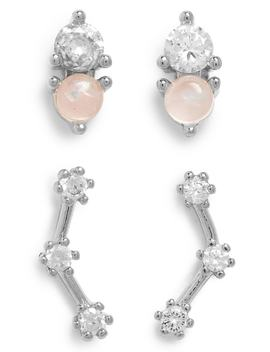 Set Of 2 Imitation Stone & Crystal Earrings by Leith