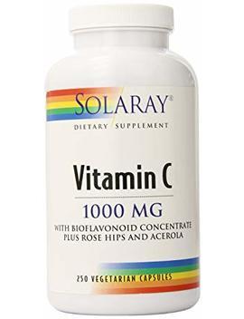 Solaray Vitamin C W/Rose Hips, Acerola & Bioflavonoids | 1000mg | Supports Immune Function & Healthier Skin, Hair, Nails | Non Gmo | Vegan | 250 Ct by Solaray