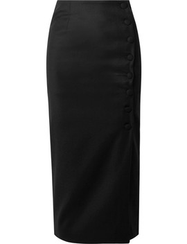 Button Embellished Wool Crepe Midi Skirt by MatÉriel
