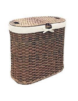 Seville Classics Hand Woven Oval Double Laundry Hamper In Mocha by Bed Bath And Beyond