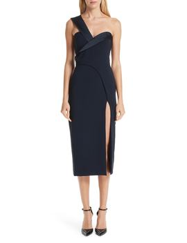 Fold Over One Shoulder Dress by Brandon Maxwell