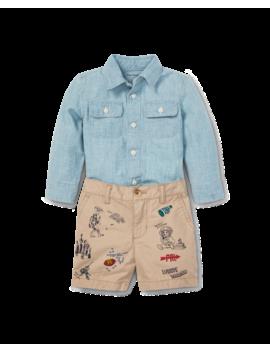 Chambray Shirt & Short Set by Ralph Lauren