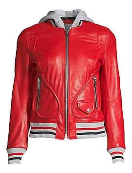 Michelle Hooded Leather Varsity Jacket by Doma