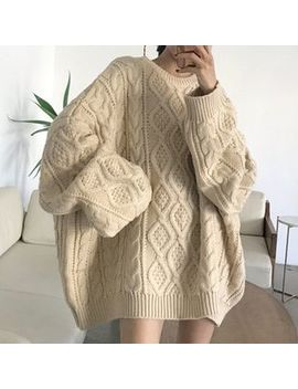 Serendipitous   Cable Knit Oversized Sweater by Serendipitous