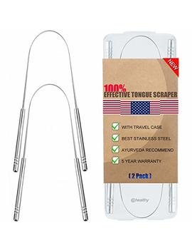 Tongue Scraper, Tongue Cleaner 2 Pack Surgical Stainless Steel Rustproof Tongue Scrapers Effective Reusable Lifetime Scraper For Plaque And Bacteria Removal, Fresh Breath   New by Cbiumpro