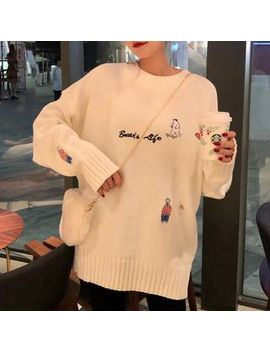 Princessy   Polar Bear Embroidered Boxy Sweater by Princessy