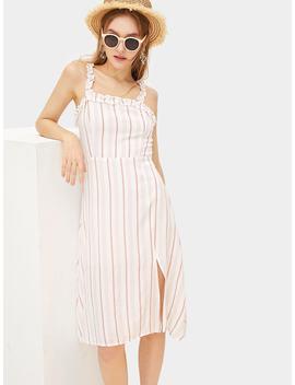 Ruffle Detail Split Striped Dress by Romwe