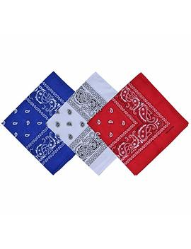 Raylarnia Paisley 3 Piece Assorted Cowboy Bandanas Cotton 22 X 22 Inch by Raylarnia