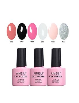 Aimeili Gel Nail Polish Soak Off Uv Led Gel Nail Lacquer Combo Color Set Of 6pcs X 10ml   Kit Set 1 by Aimeili
