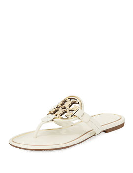 Metal Miller Logo Leather Sandals by Tory Burch
