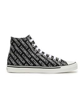 Embellished Printed Canvas High Top Sneakers by Vetements