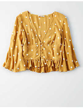 Ae Long Sleeve Button Front Blouse by American Eagle Outfitters