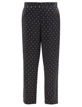 Polka Dot Sandwashed Silk Trousers by Asceno