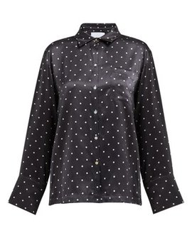 Polka Dot Sandwashed Silk Shirt by Asceno