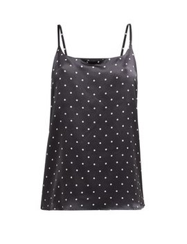 Polka Dot Sandwashed Silk Cami Top by Asceno