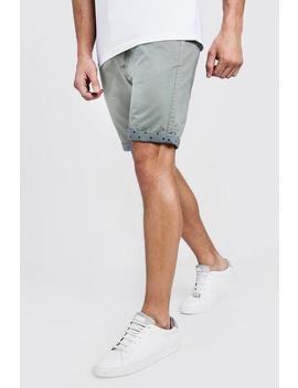 Slim Fit Chino Shorts With Printed Turn Ups by Boohoo
