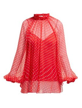 Polka Dot Silk Overlay Blouse by Zimmermann