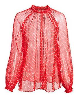 Ninety Six Polka Dot Silk Swing Blouse by Zimmermann