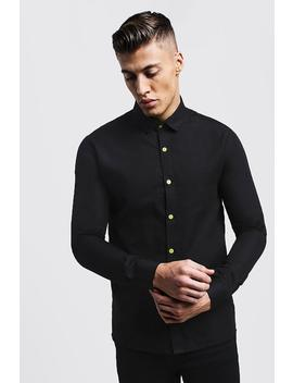 Slim Fit Long Sleeve Shirt With Neon Yellow Buttons by Boohoo
