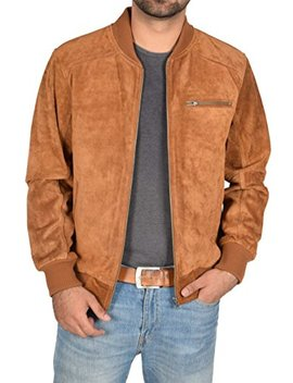 Mens Real Tan Suede Bomber Jacket Leather Varsity Baseball Casual Coat   Roco by A1 Fashion Goods