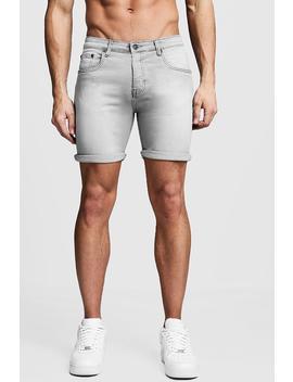 Stretch Skinny Fit Grey Denim Short by Boohoo