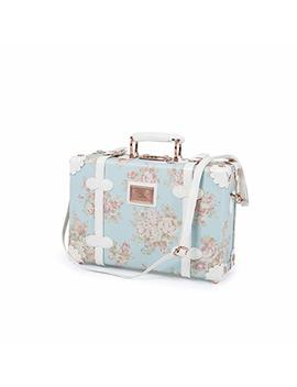 13 Inch Women Pu Leather Small Suitcase Floral Decorative Box With 2 Straps (Blue) by Uniwalker