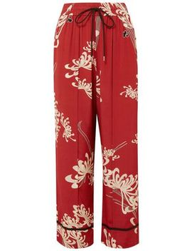 Printed Crepe De Chine Wide Leg Pants by Mc Q Alexander Mc Queen